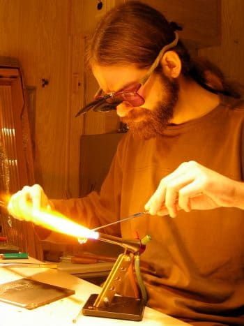 Artist Creating Hand Blown Glass Cremation Jewelry