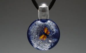 butterfly galaxy cremation pendant