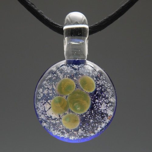 Green Pawprint Glass Cremation Pendant