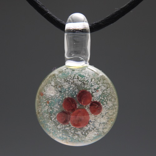Red Pawprint Glass Cremation Pendant