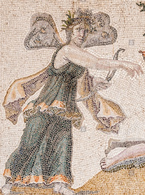 Psyche depicted as butterfly in 3rd Century A.D. mosaic from Turkey
